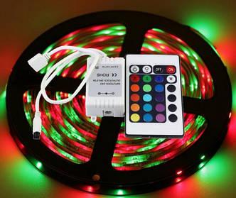 Светодиодная LED Лента 5 м RGB с Пультом и Переходником