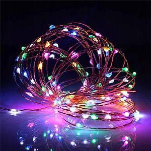 Гирлянда Роса Проволока RGB 100 LED На Батарейках, 10 м, Мультицвет