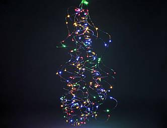 Гирлянда Лучи Росы или Конский Хвост, 2 м, 200 LED, 10 Нитей, Мультицвет от Сети 220V