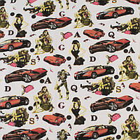 Деко-котон білий, червоні машини, дівчата, ш.150 (20406.003)