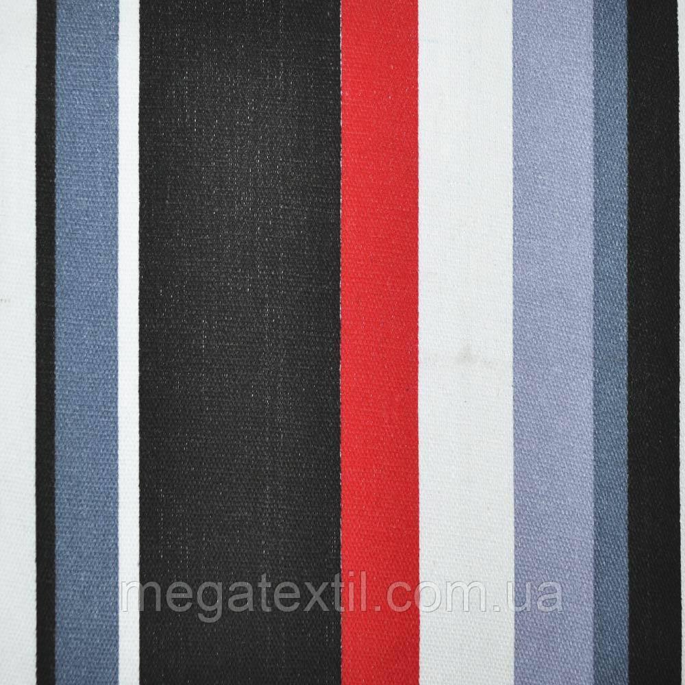 Тканина меблева в червоно-чорну і сіро-білу смужку ш.150 (20406.018)
