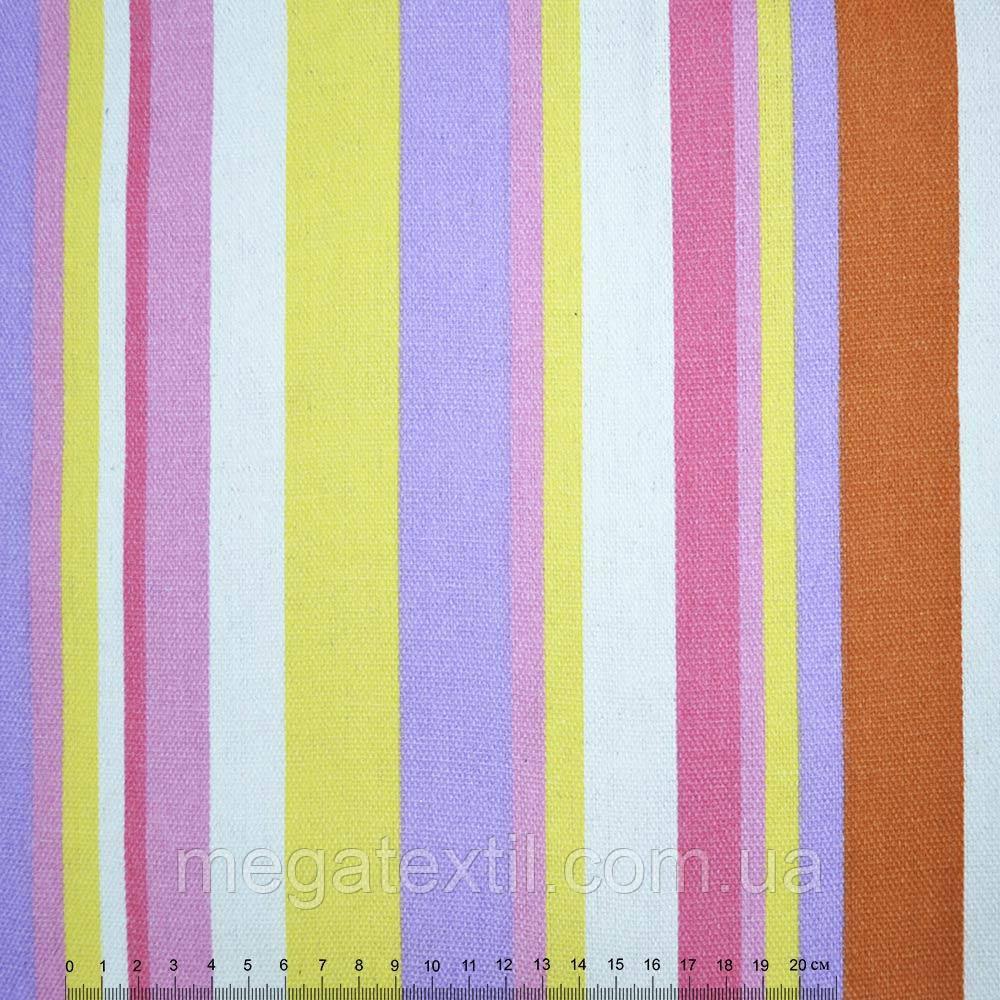 Тканина меблева жовто-бузкові, рожево-білі смужки ш.150 (20406.023)