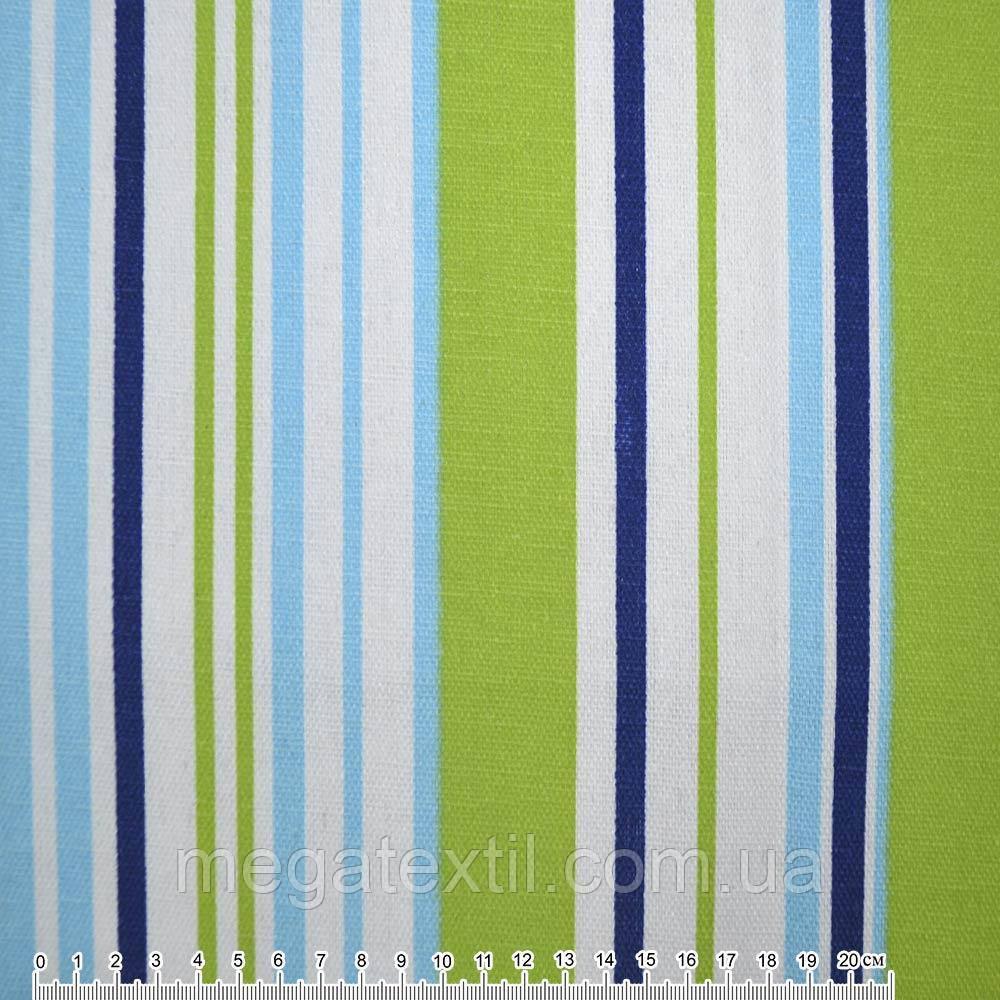 Тканина меблева салатово-блакитні, синьо-білі смужки ш.150 (20406.033)