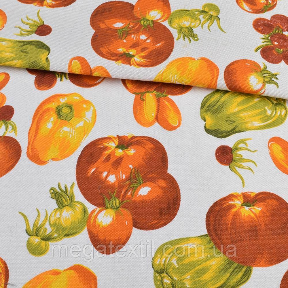 Деко-котон білий, помаранчеві овочі, ш.150 (20406.049)