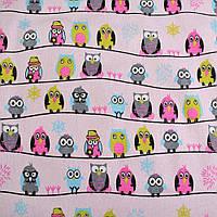 Деко-лен розовый в совы на полосах ш.145 ( 20501.004 )