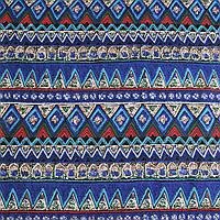 Деко-лен синий в зелено-голубые полосы и узоры ш.150 (20501.007)
