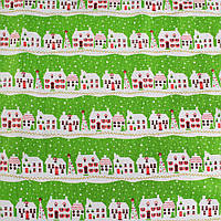 Деко-лен салатовый в полосы бело-красных домиков ш.150 (20501.008)