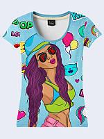 Женская футболка Girl and stickers