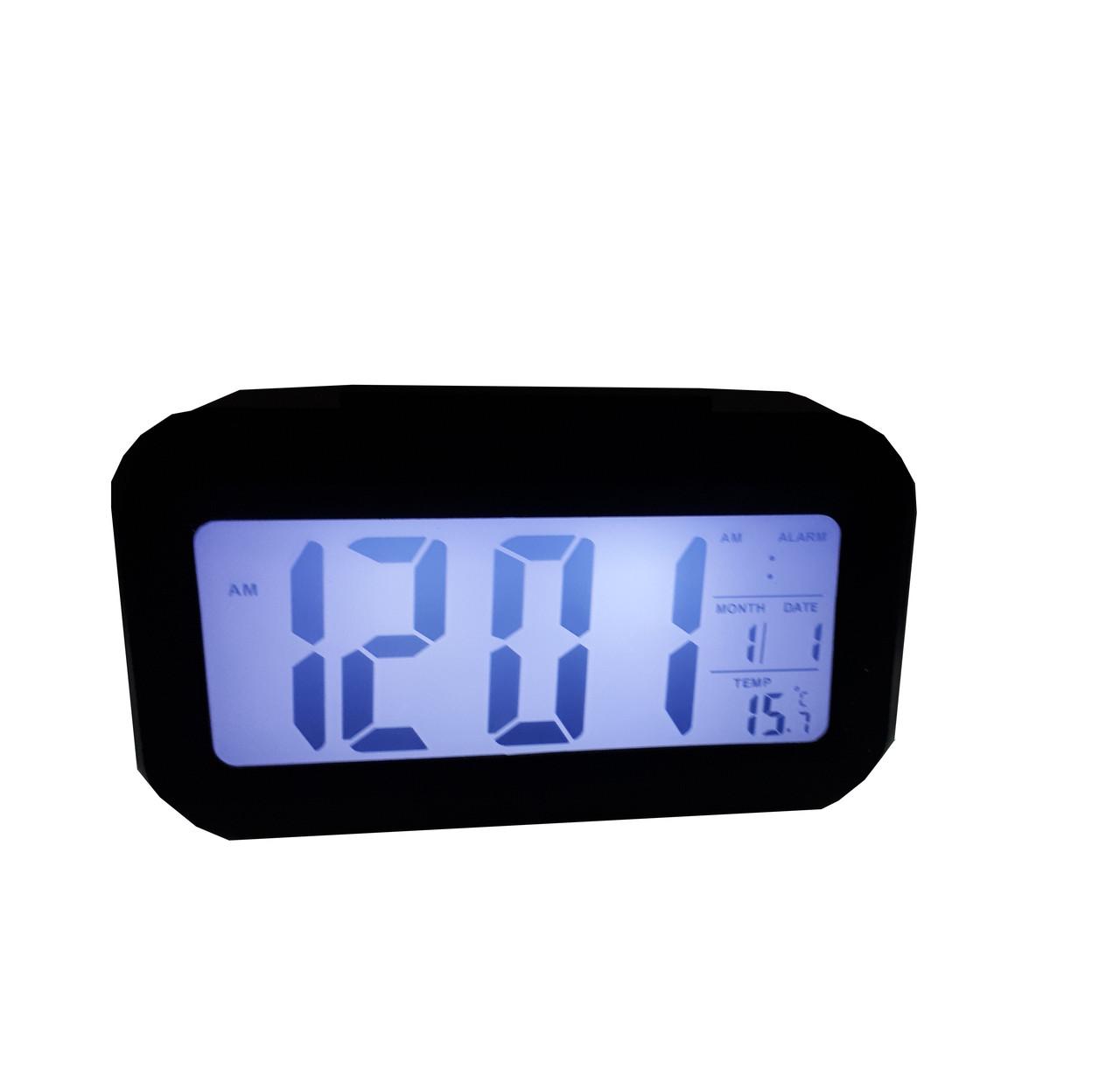 Часы настольные с подсветкой, температурой, будильником. Черный