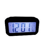 Часы настольные с подсветкой, температурой, будильником. Черный, фото 1