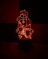 3d-светильник Симка (фиксики), 3д-ночник, несколько подсветок (на батарейке)