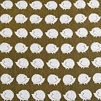 Деко-лен зеленый (оливковый темный) в белые ежики ш.150 (20501.015)