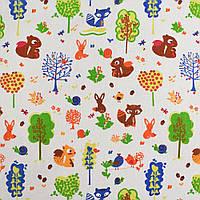Деко-лен молочный в птички, лисички, белочки, деревья ш.150 (20501.019)