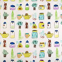 Деко-лен молочный в желто-зеленые баночки и цветы ш.150 (20501.031)