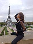 Женский комбинезон с пышными рукавами из фатина с высокими брюками по фигуре, фото 4