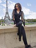 Женский комбинезон с пышными рукавами из фатина с высокими брюками по фигуре, фото 5