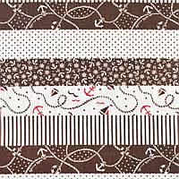 Деко-лен молочный в коричневые полосы с якорями, ш.150 (20501.043)