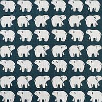 Деко-лен морская волна белые медведи, ш.150 (20501.057)