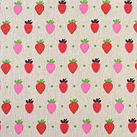Деко-лен бежевый в красные и розовые клубники, ш.150 (20501.058)