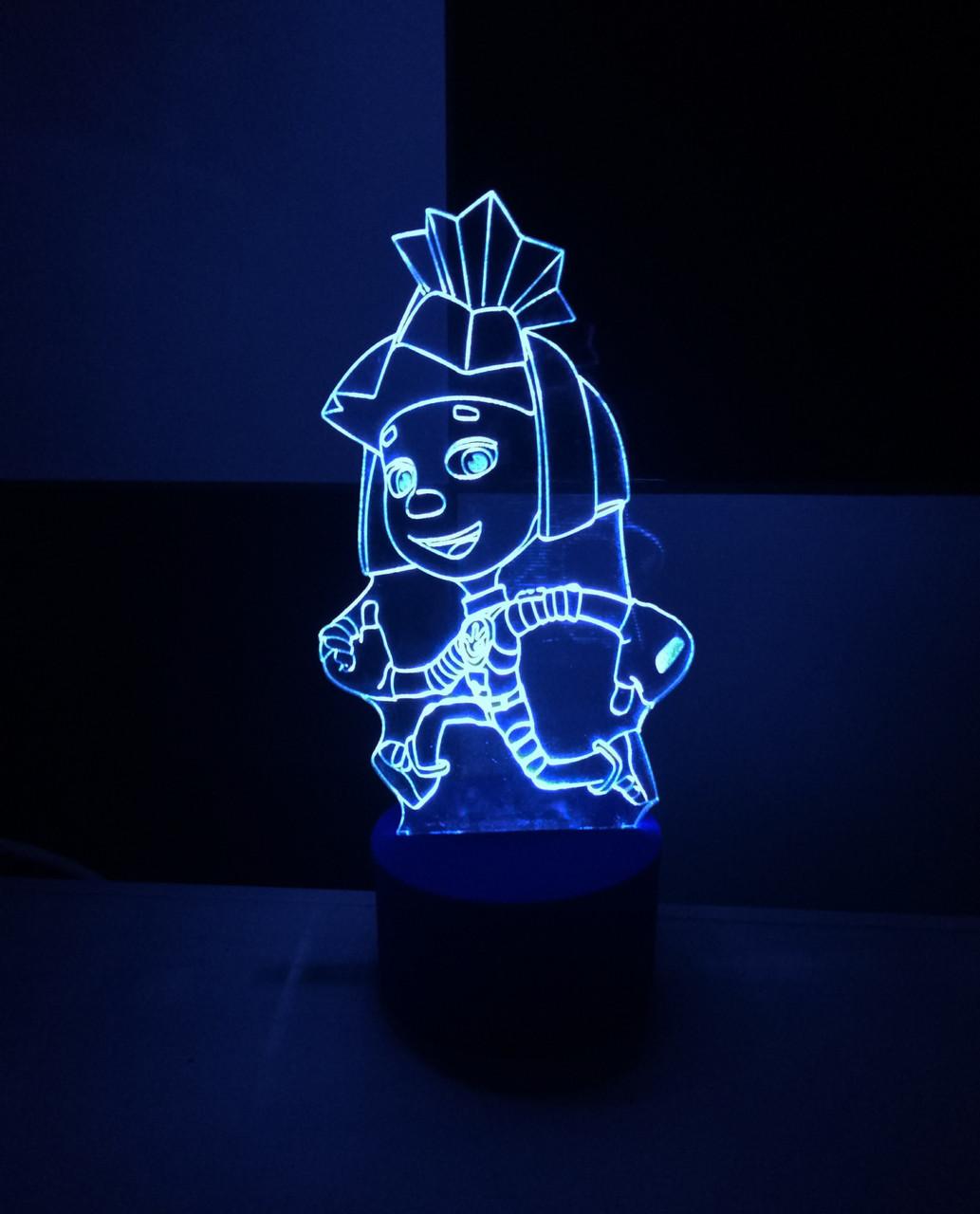 3d-светильник Симка (фиксики), 3д-ночник, несколько подсветок (батарейка+220В)