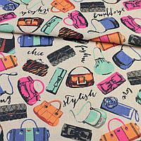 Деко-лен песочный, разноцветные сумочки, ш.150 (20501.066)