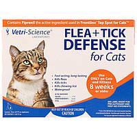 Средство от блох, для кошек, Flea + Tick Defense, 21st Century Health Care, 3 аппликатора