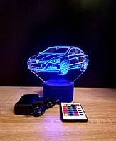 3d-светильник Фольксваген, Volkswagen, 3д-ночник, несколько подсветок (на пульте)