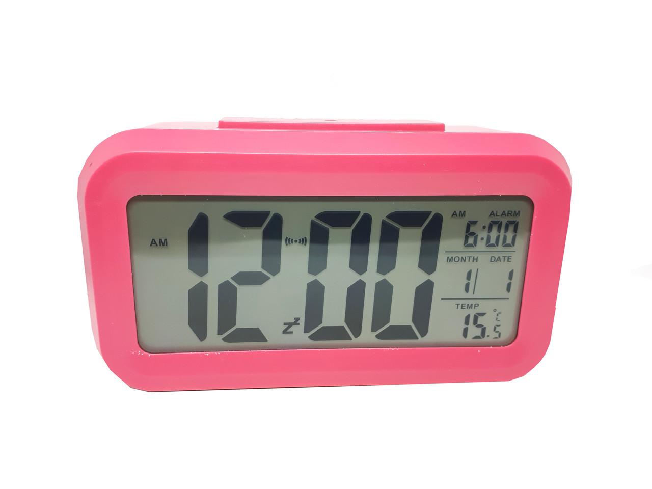 Часы настольные с подсветкой, температурой, будильником. Abeer Розовый