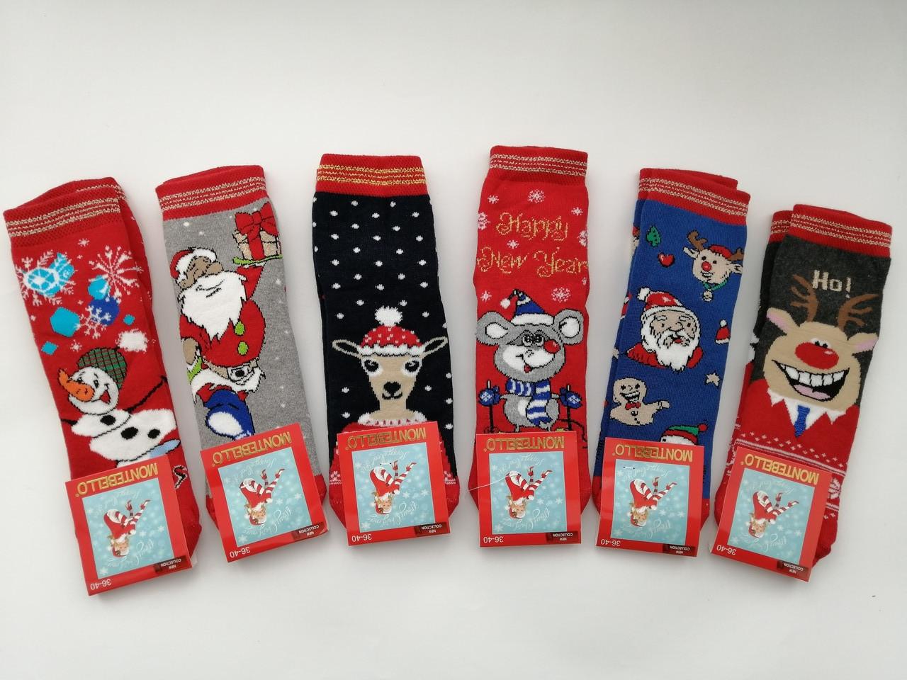 Махровые женские носки Montebello новый год