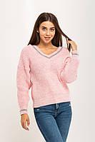 Розовый вязаный теплый свитер с V-образным вырезом 20% шерсть (универсальный (S/L))