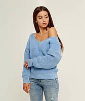 Голубой вязаный теплый свитер со спущенным верхом 20% шерсть (универсальный (S/L))