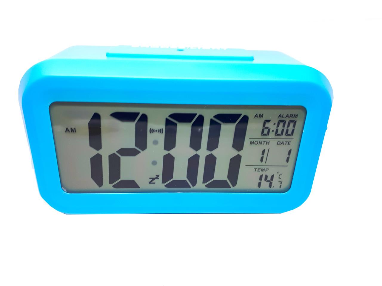Часы настольные с подсветкой, температурой, будильником. опт Голубой
