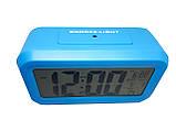 Часы настольные с подсветкой, температурой, будильником. опт Голубой, фото 4
