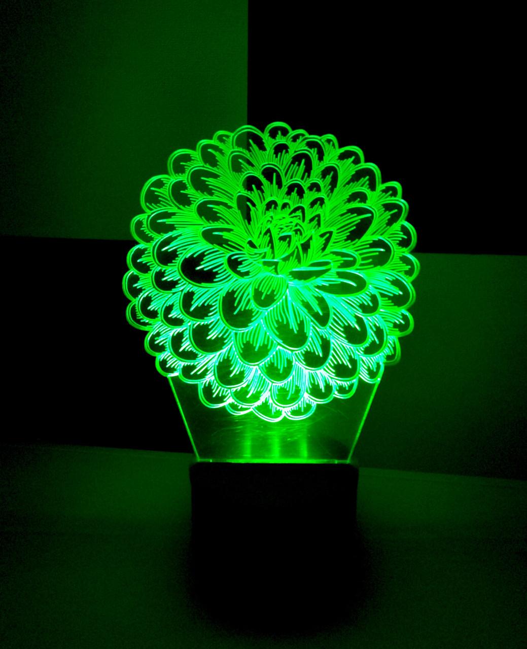 3d-светильник Цветок, 3д-ночник, несколько подсветок (батарейка+220В), оригинальный подарок женщине