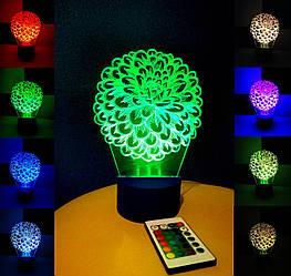 3d-светильник Цветок, 3д-ночник, несколько подсветок (на пульте), оригинальный подарок для девушки