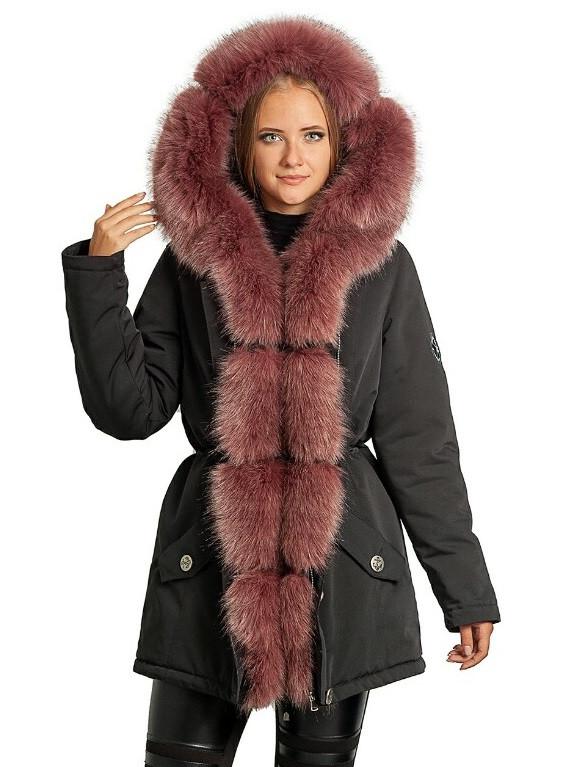 Парка с мехом женская зимняя куртка теплая удлиненная (искуственный песец)