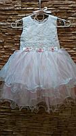Нарядное детское платье белое с розовым на 2-4 года