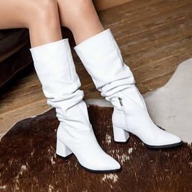 Модные Красивые Сапоги на среднем каблуке  размеры 36-41