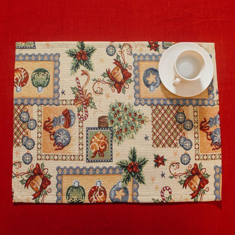 Серветка гобеленова з люрексом Новорічна Іспанія Villa Grazia Сімейне свято BastonSetMesa 35х45