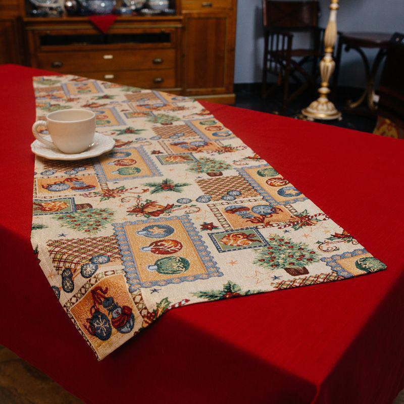 Раннер гобеленовий з люрексом Новорічний Іспанія Villa Grazia Сімейне свято BastonRunner 45х140