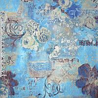 Кожа искусственная голубая с цветочным рисунком (20842.004)