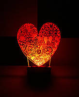 Ночник Сердце на батарейке Светляччок (00040)