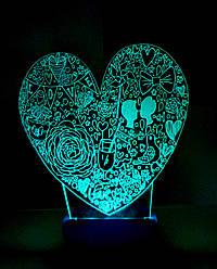 3d-светильник Сердце LOVE, 3д-ночник, несколько подсветок (батарейка+220В), романтический подарок