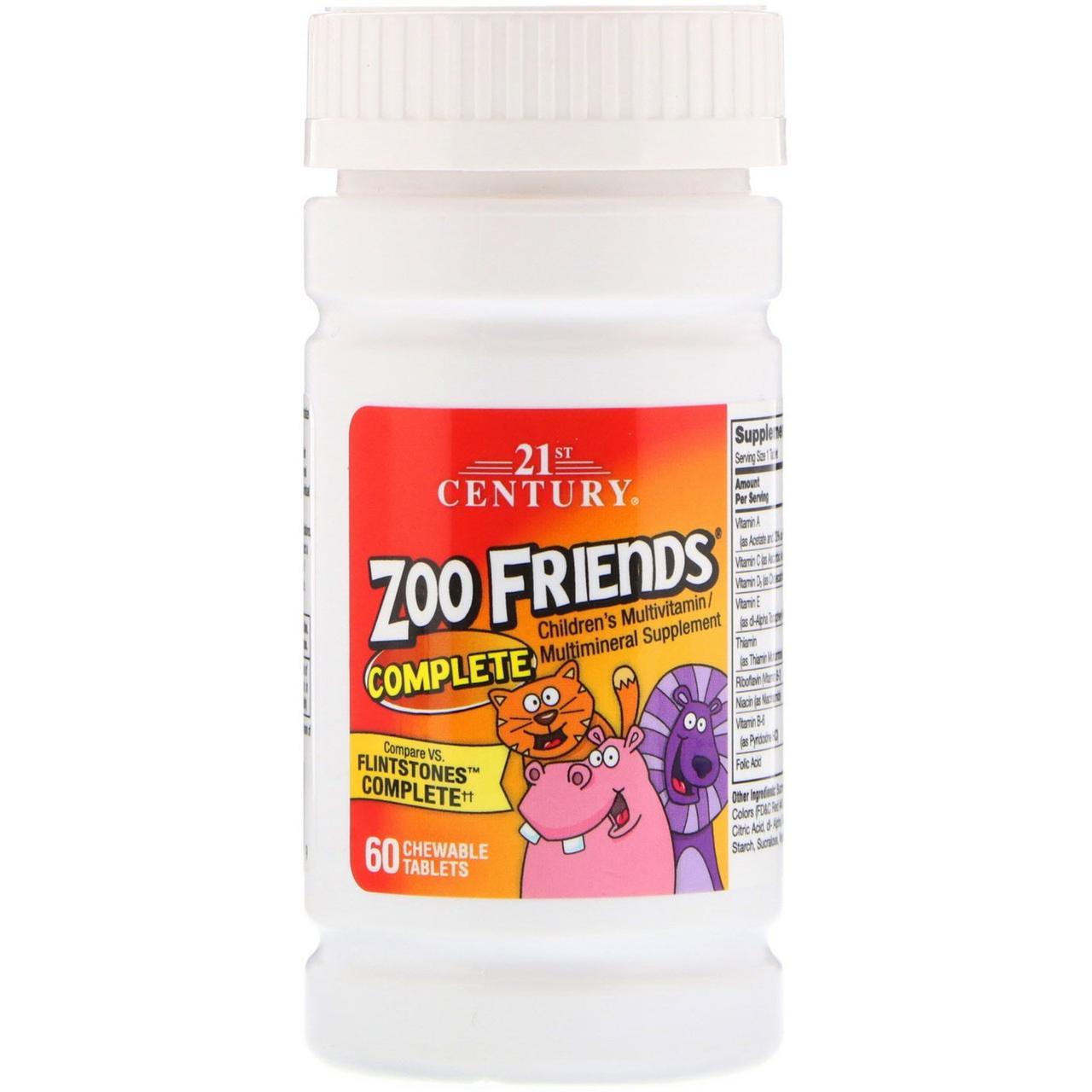 Комплекс мультивітамінів і мінералів для дітей, 21st Century, Zoo Friends, 60 жувальних таблеток