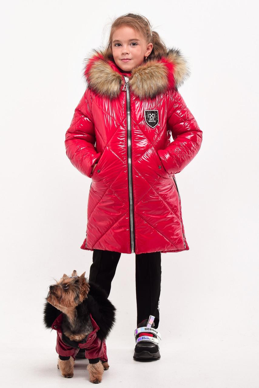 Зимнее лаковое пальто для девочек рост 107-140