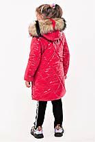 Зимнее лаковое пальто для девочек рост 107-140, фото 2