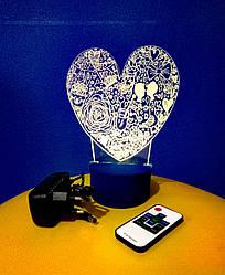 3d-светильник Сердце LOVE, 3д-ночник, несколько подсветок (на пульте), романтический подарок