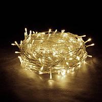 Гирлянда Нить светодиодная LED 300 лампочек Теплая Белая, 1900 см, прозрачный провод (1130-07)