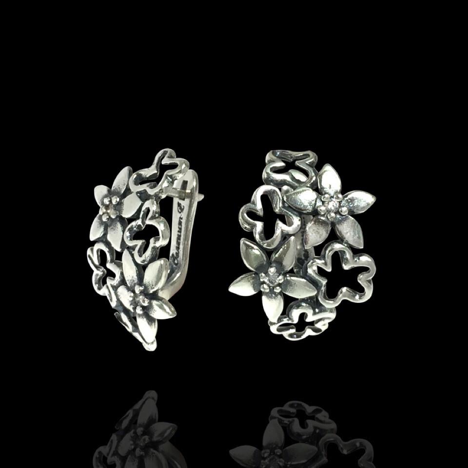 Серебряные крупные женские серьги Цветы