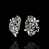 Серебряные крупные женские серьги Цветы, фото 1